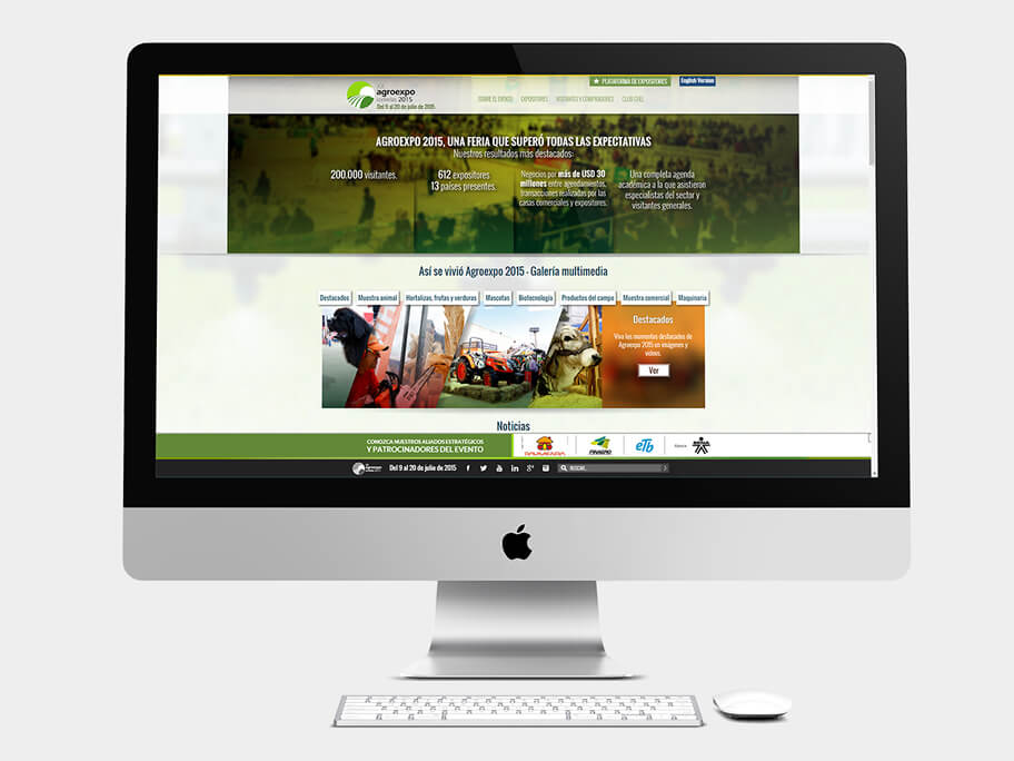 Agroexpo Corferias, página de Inicio, computador
