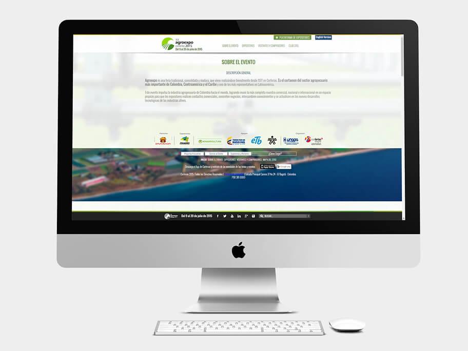 Agroexpo Corferias, página interna, computador