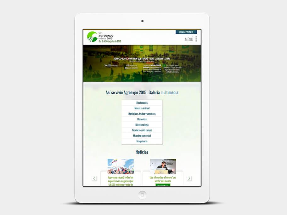 Agroexpo Corferias, página de Inicio, tablet