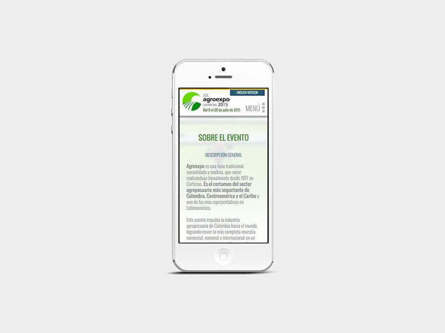 Agroexpo Corferias, página interna, smartphone