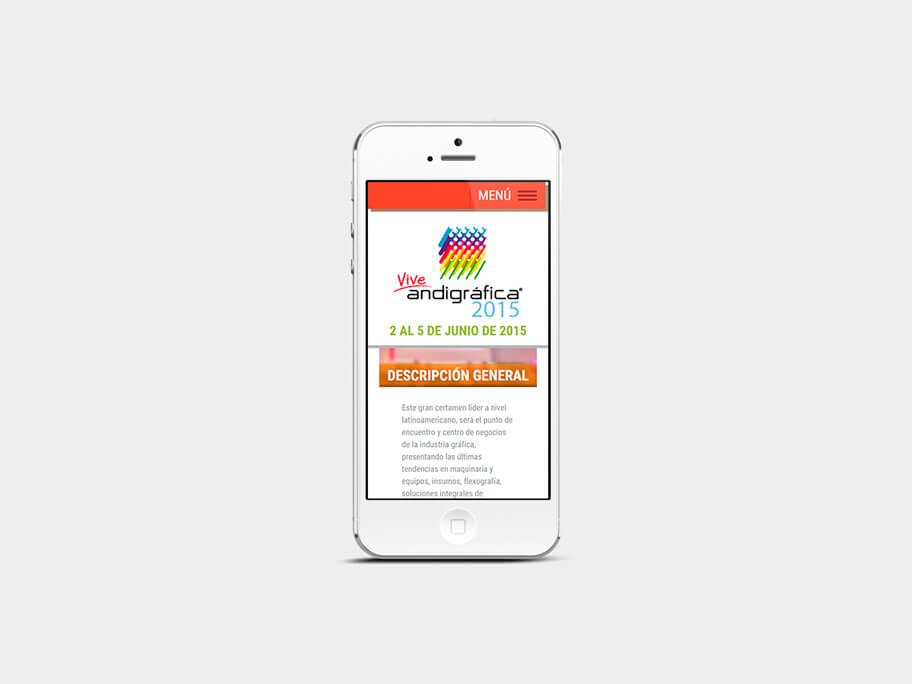 Andigrafica Corferias, página interna, smartphone