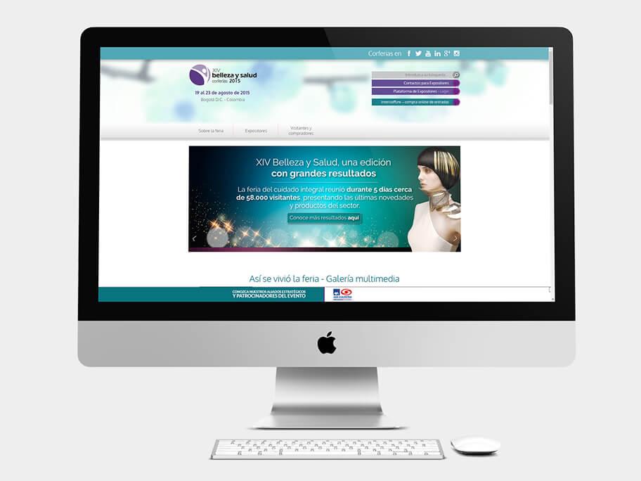 Belleza y Salud Corferias, página de inicio, en computadores
