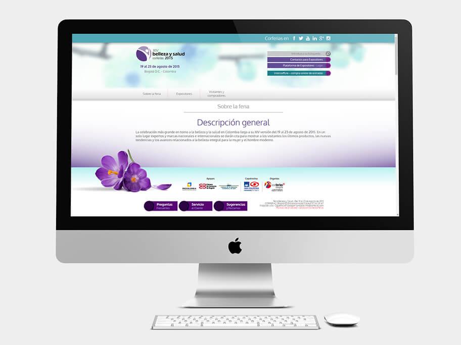 Belleza y Salud Corferias, página sobre la feria, en computadores