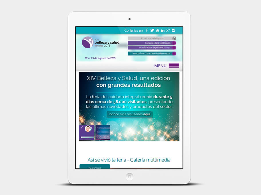 Belleza y Salud Corferias, página de inicio, en tablets