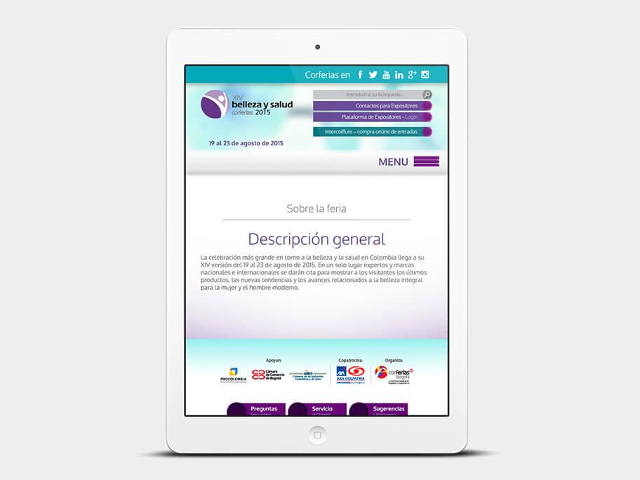 Belleza y Salud Corferias, página interna, tablet