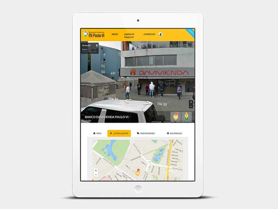 Mi Paulo VI, página de Comercio con Street View, tablet