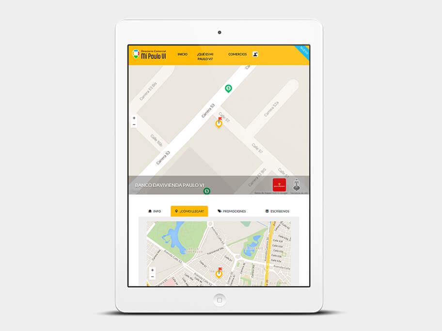 Mi Paulo VI, página de Comercio con Google Maps, tablet