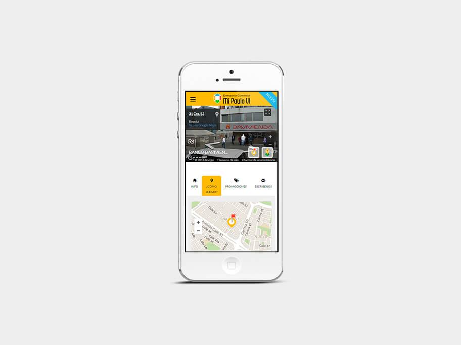 Mi Paulo VI, página de Comercio con Street View, smartphone