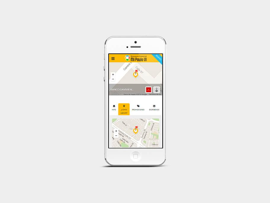 Mi Paulo VI, página de Comercio con Google Maps, smartphone