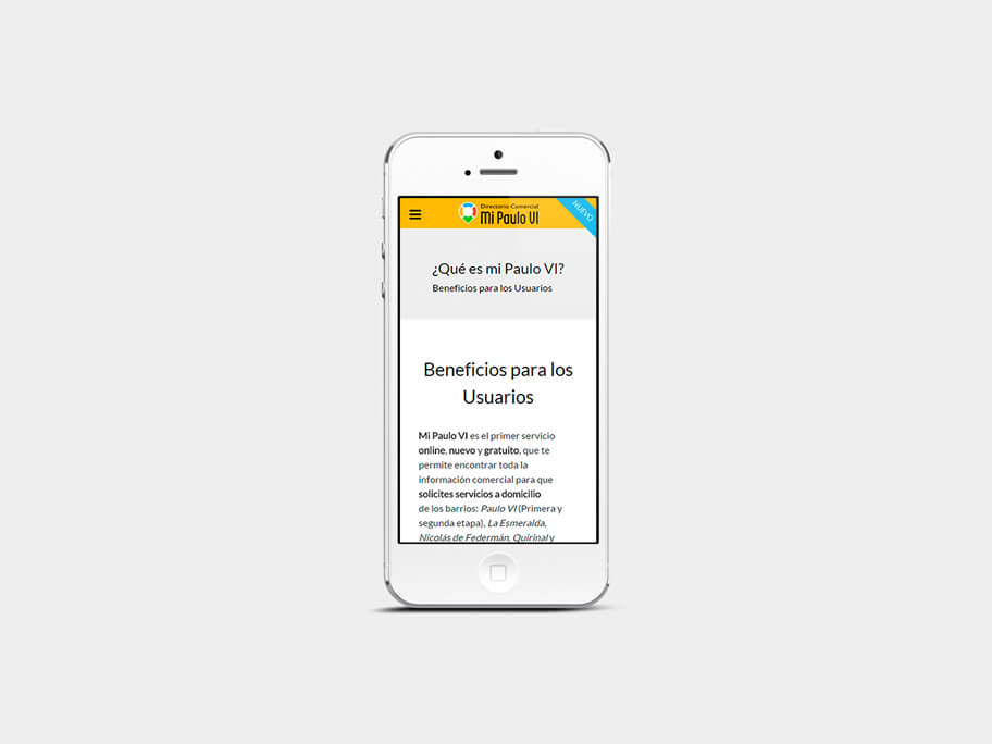 Mi Paulo VI, página de Beneficios para los Usuarios, smartphone