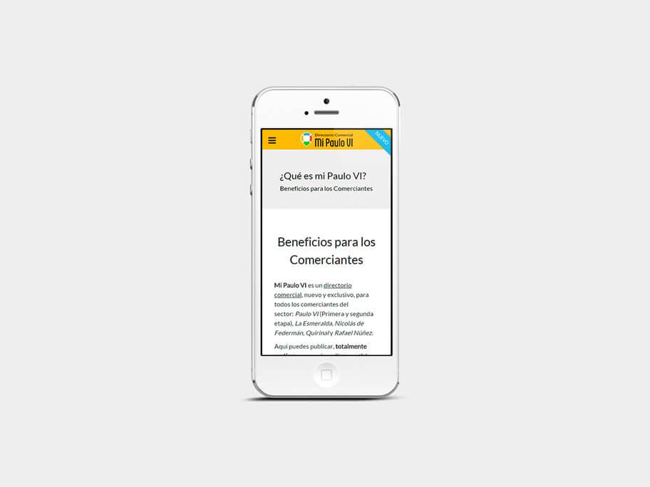 Mi Paulo VI, página de Beneficios para los Comerciantes, smartphone