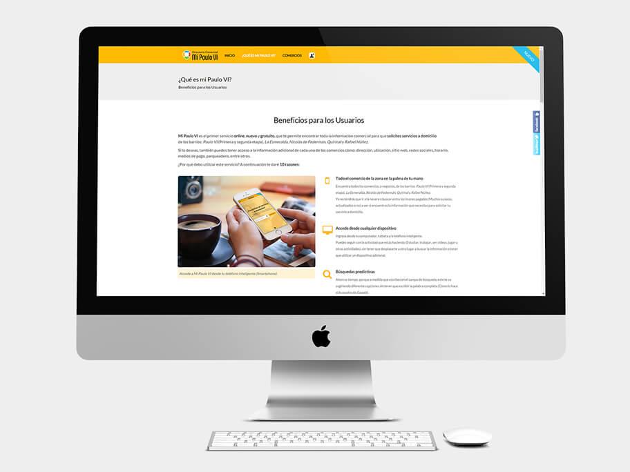 Mi Paulo VI, página de Beneficios para los Usuarios, computador