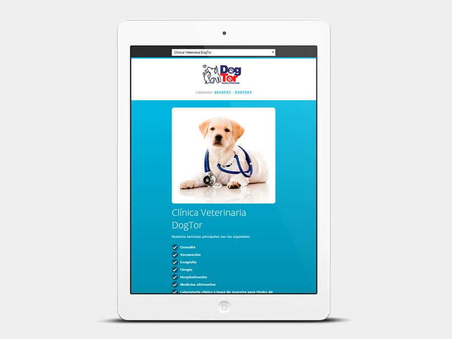 DogTor, página de inicio, en tablets