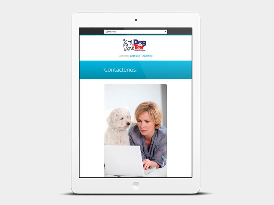 DogTor, página de contáctenos, en tablets