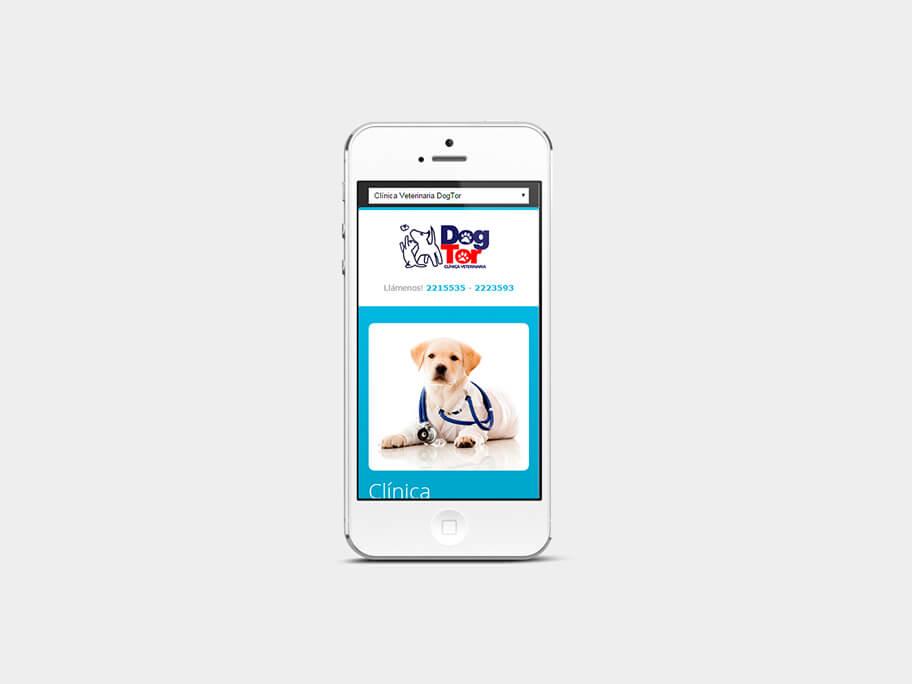 DogTor, página de inicio, en smartphones