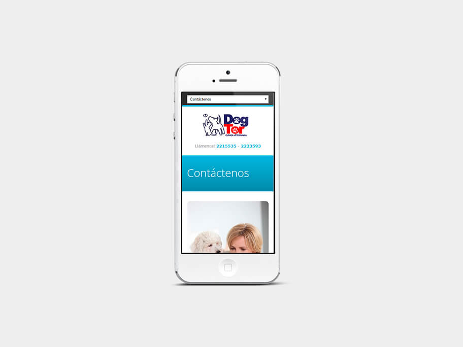 DogTor, página de contáctenos, en smartphones