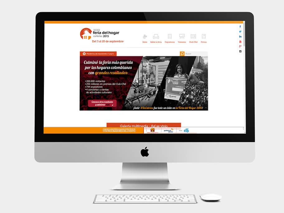 Feria del Hogar Corferias, página de inicio, en computadores