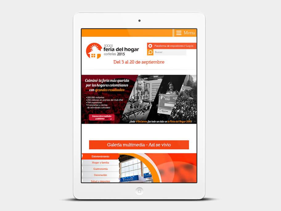 Feria del Hogar Corferias, página de inicio, en tablets
