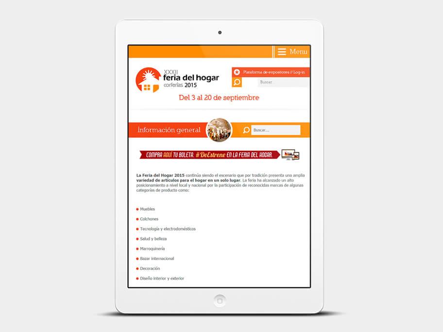 Feria del Hogar Corferias, página información general, en tablets