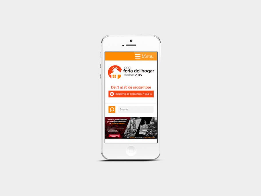 Feria del Hogar Corferias, página de inicio, en smartphones