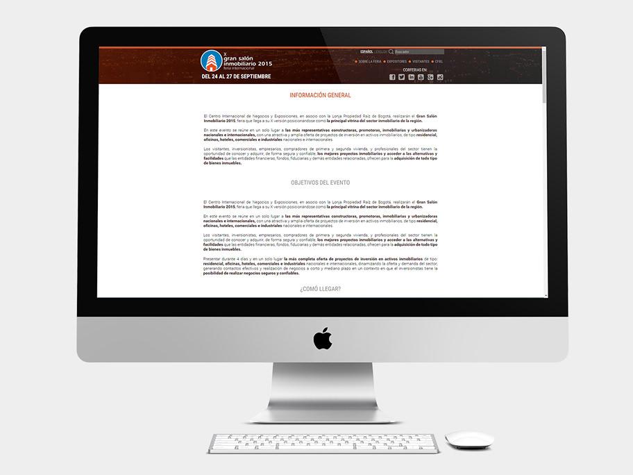 Gran Salón Inmobiliario Corferias, página interna, computador