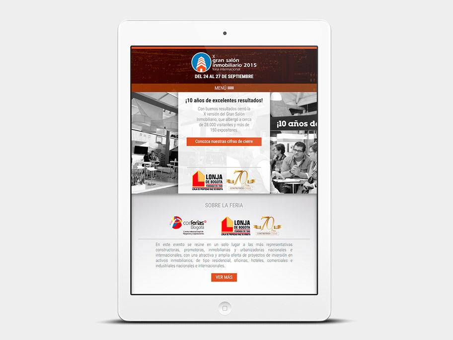 Gran Salón Inmobiliario Corferias, página de Inicio, tablet