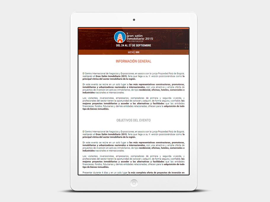 Gran Salón Inmobiliario Corferias, página interna, tablet