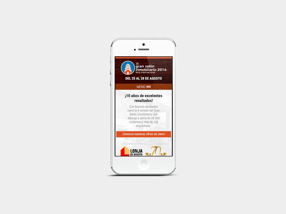 Gran Salón Inmobiliario Corferias, página de Inicio, smartphone