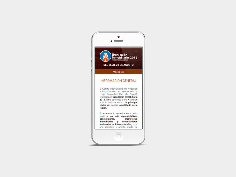 Gran Salón Inmobiliario Corferias, página interna, smartphone