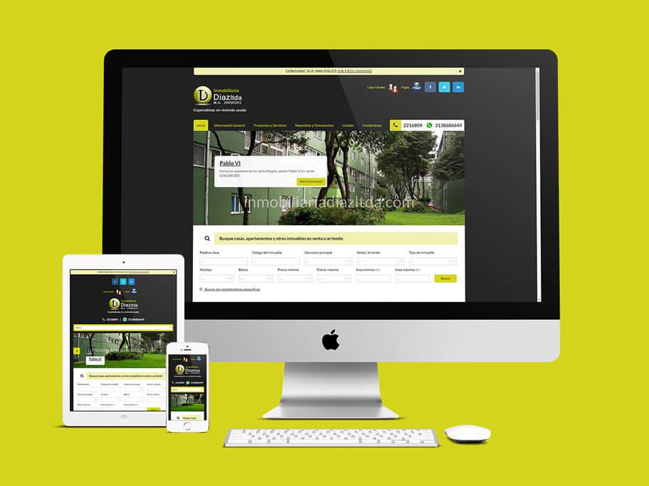 Inmobiliaria Díaz, diseño de página web responsive en WordPress