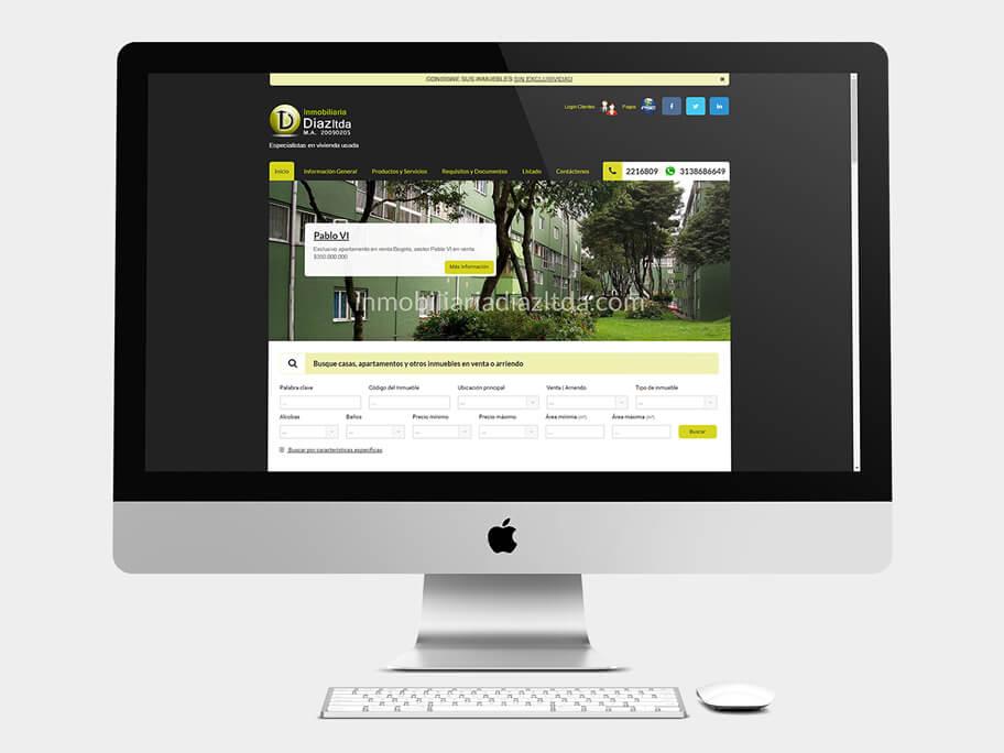 Inmobiliaria Díaz, página de Inicio, computador