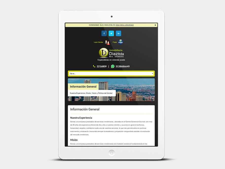 Inmobiliaria Díaz, página de Información General, tablet
