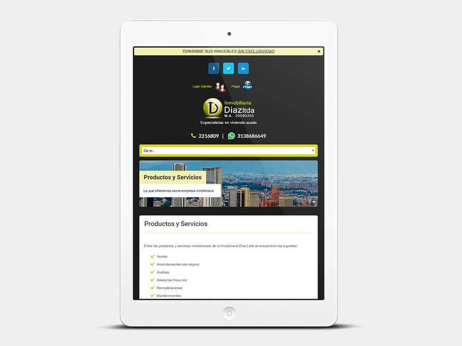 Inmobiliaria Díaz, página de Productos y Servicios, tablet