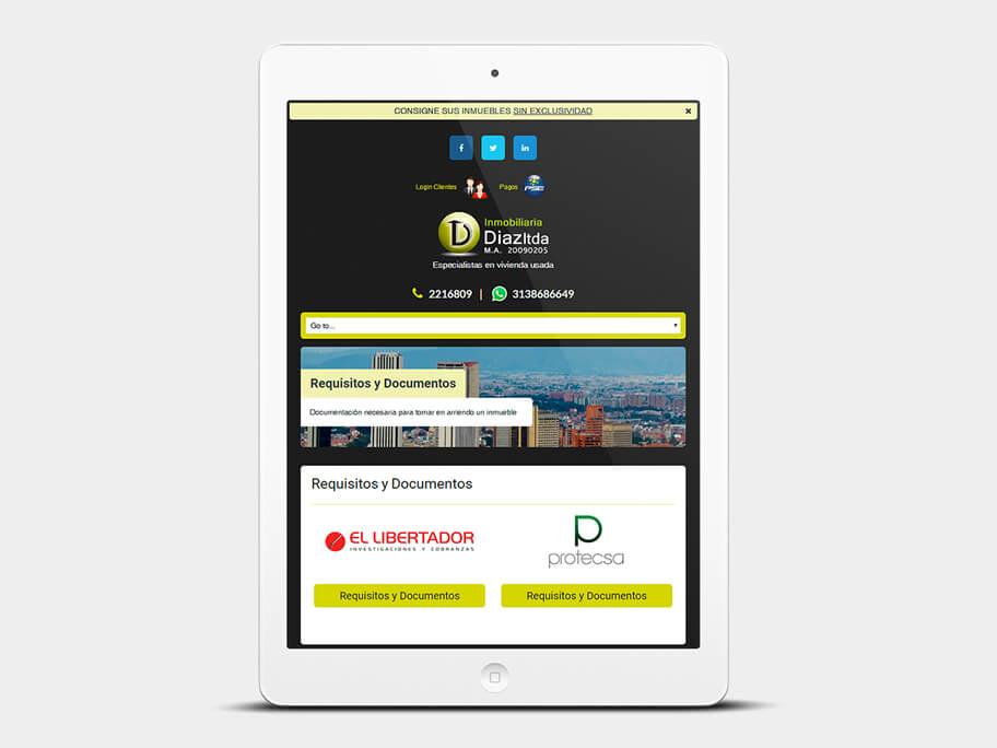 Inmobiliaria Díaz, página de Requisitos y Documentos, tablet