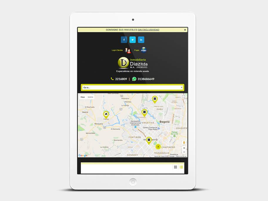 Inmobiliaria Díaz, página de Listado de Inmuebles, tablet