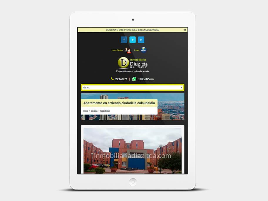 Inmobiliaria Díaz, página de Inmueble, tablet