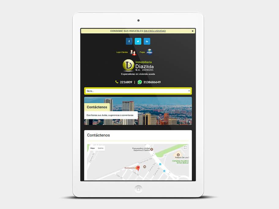Inmobiliaria Díaz, página de Contáctenos, tablet