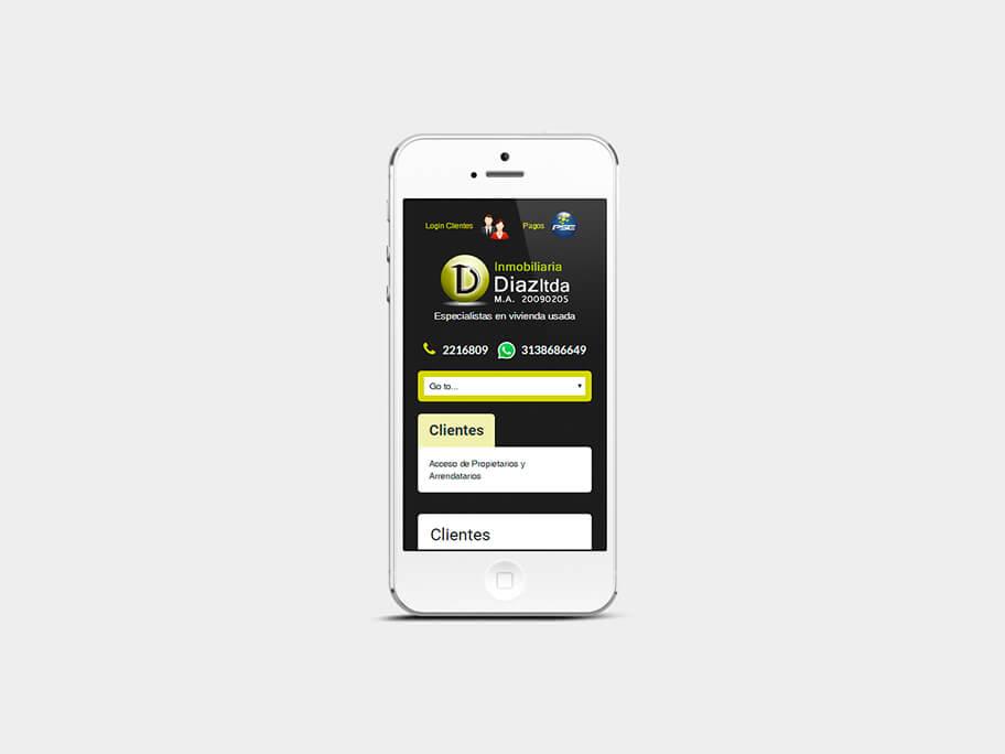 Inmobiliaria Díaz, página de Clientes, smartphone