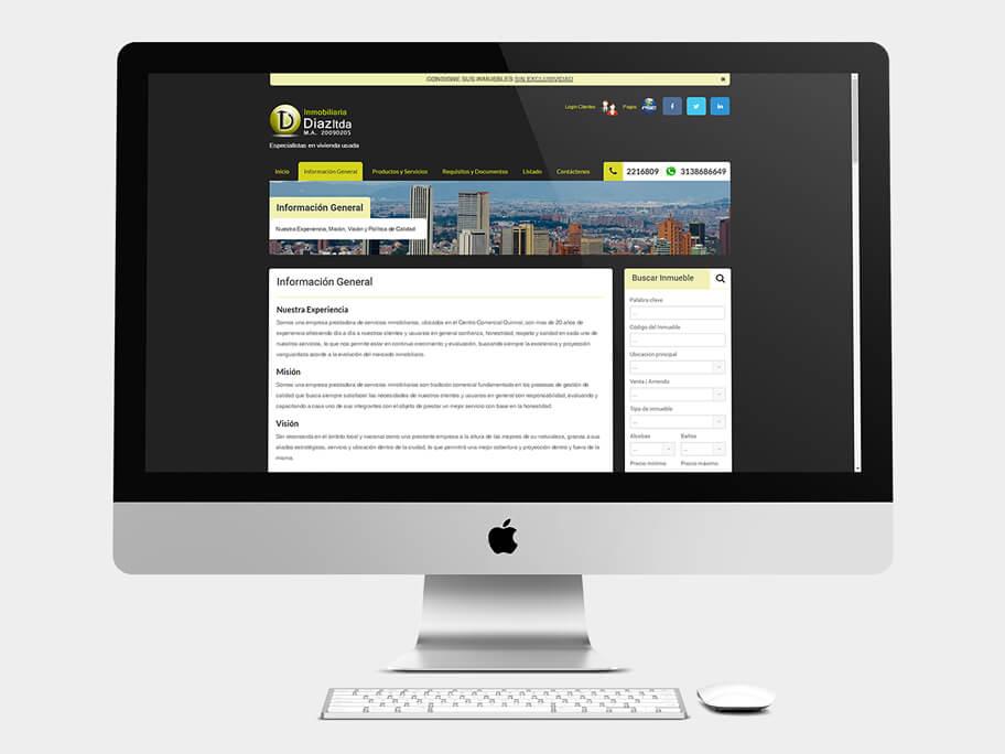 Inmobiliaria Díaz, página de Información General, computador