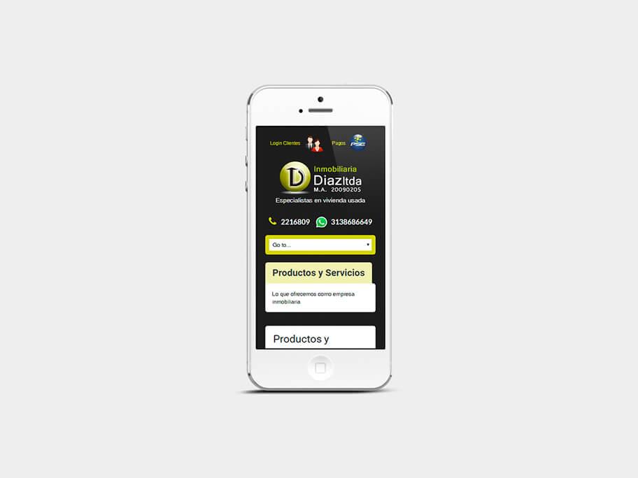 Inmobiliaria Díaz, página de Productos y Servicios, smartphone