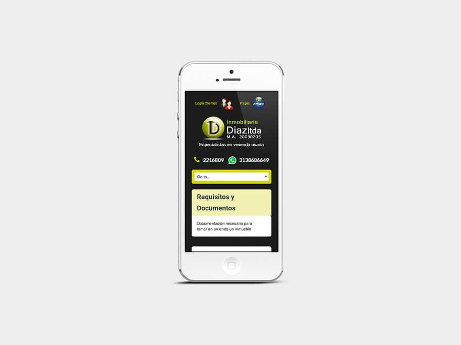 Inmobiliaria Díaz, página de Requisitos y Documentos, smartphone