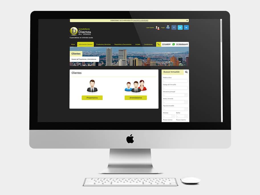 Inmobiliaria Díaz, página de información general, en computadores