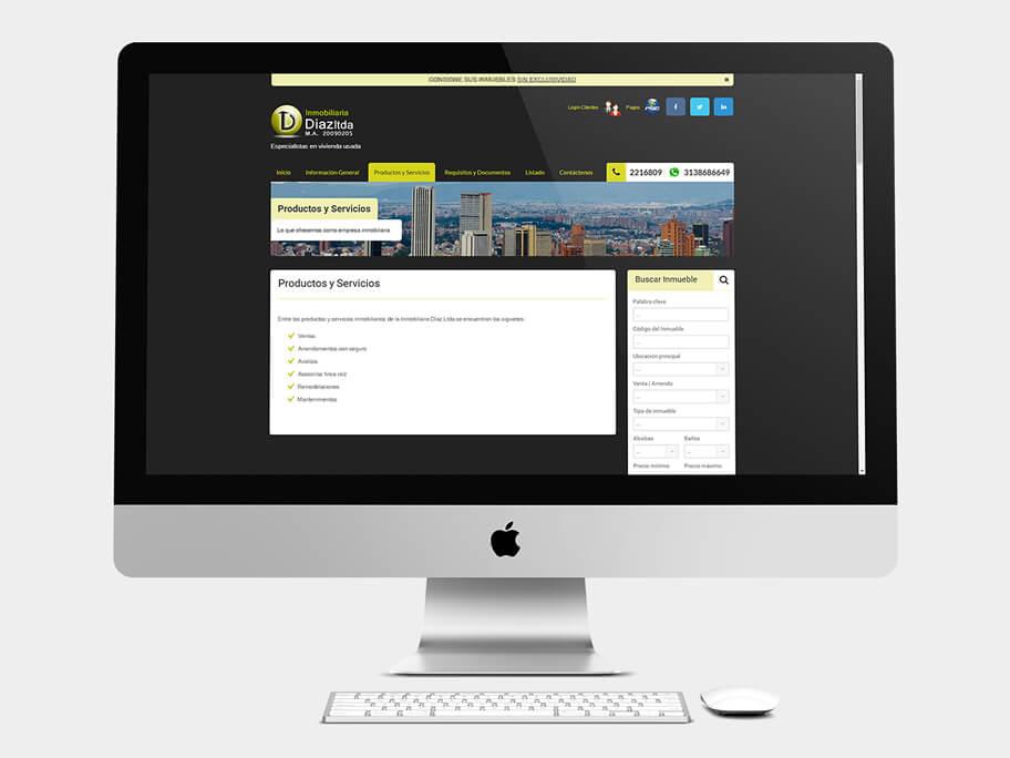 Inmobiliaria Díaz, página de Productos y Servicios, computador