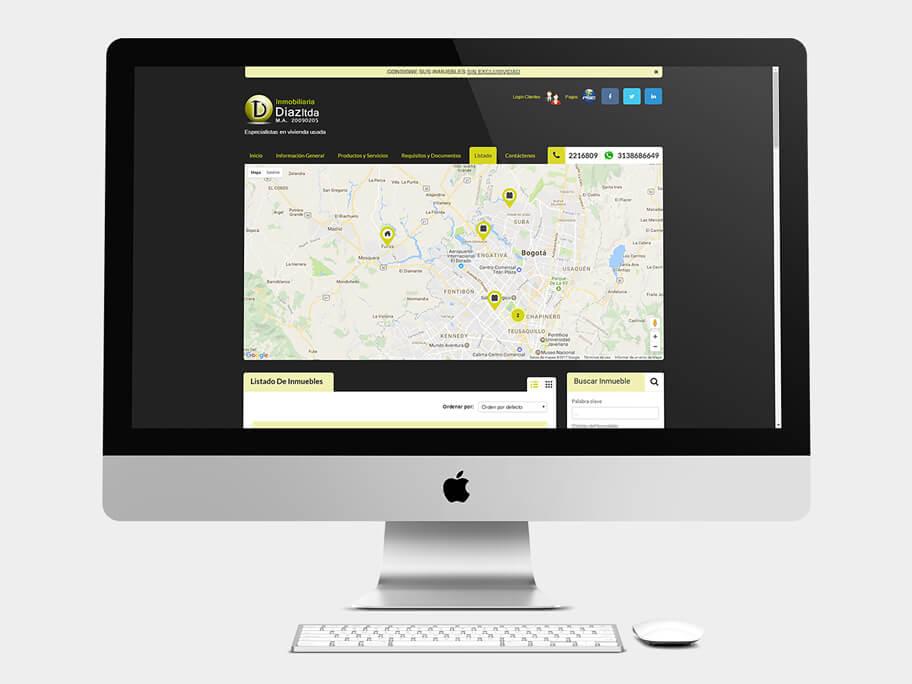 Inmobiliaria Díaz, página de Listado de Inmuebles, computador