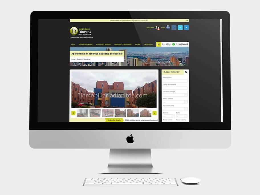 Inmobiliaria Díaz, página de Inmueble, computador