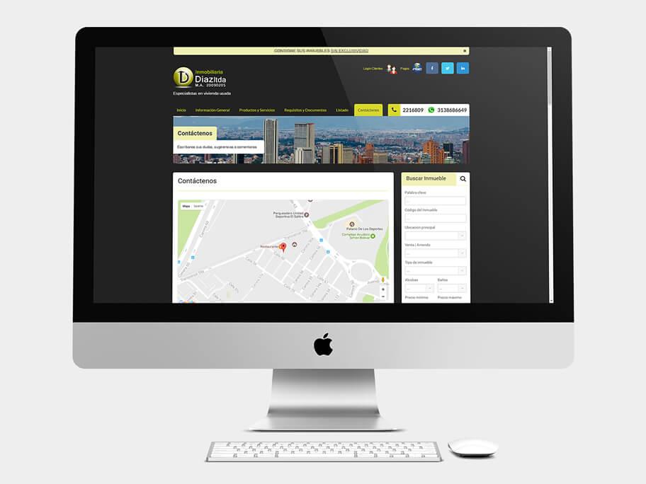 Inmobiliaria Díaz, página de Contáctenos, computador