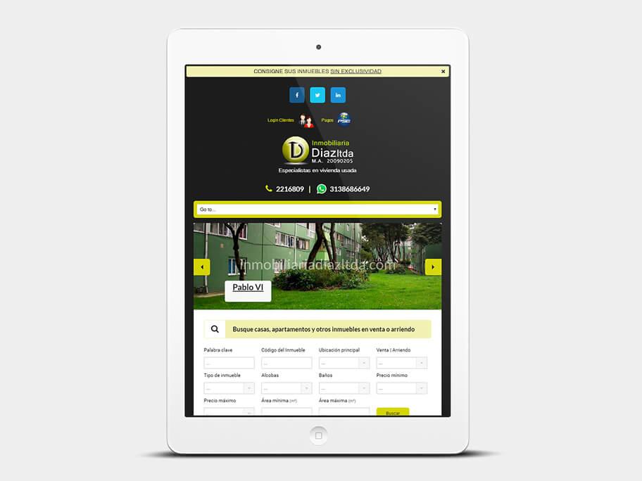 Inmobiliaria Díaz, página de Inicio, tablet