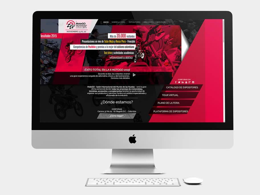 Motogo Corferias, página de Inicio, computador