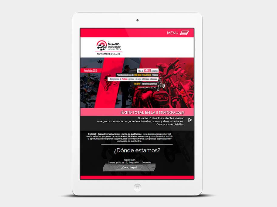Motogo Corferias, página de Inicio, tablet