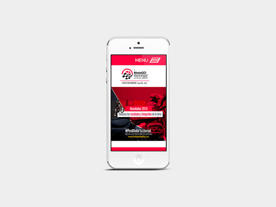 Motogo Corferias, página de Inicio, smartphone